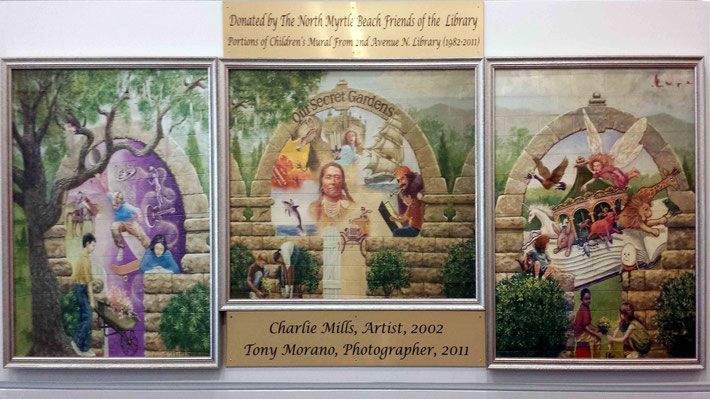 Tri-panel display at North Myrtle Beach Library, SC.