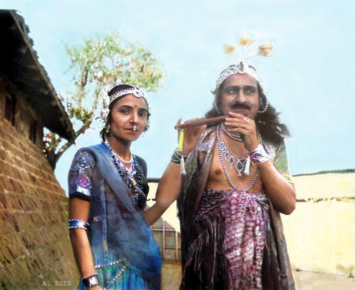 Meher Baba & Mehera Irani dressed up as Krishna & Radha. Image colourized by Anthony Zois.