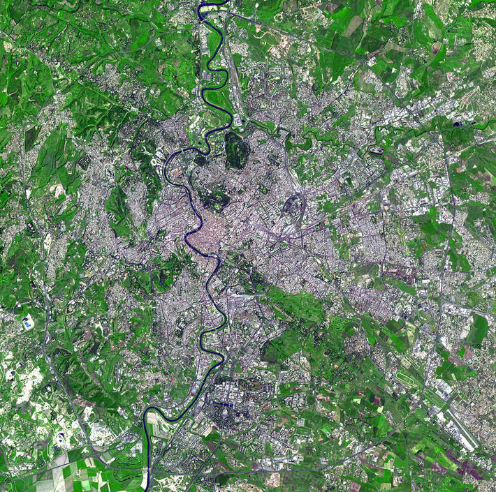 Aerial view of Rome, courtesy of NASA.