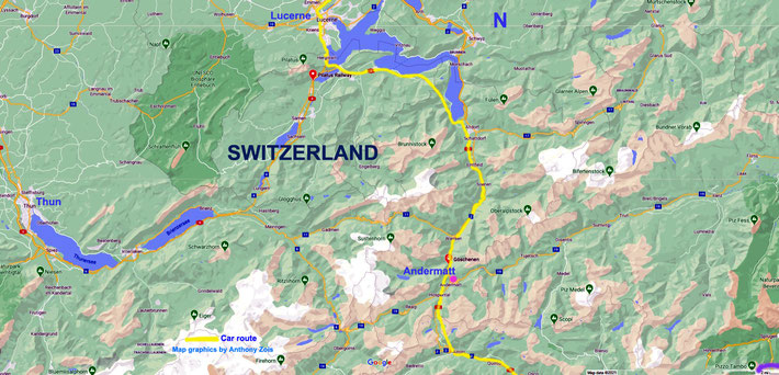 Map 4 : Closer view of Central Switzerland , route South of Lucerne. Lunch taken in Andermatt, then further South again.  Map graphics by Anthony Zois.