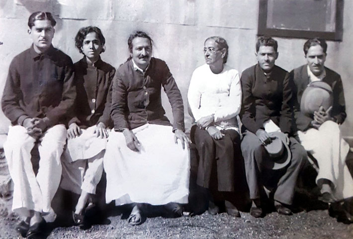 1940s - Meher Baba's family : ( L-R ) Adi Jrn., Mani, Baba, Shireen ( mother ) Jal, Beheram