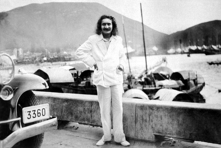 June 1932 ; Meher Baba on the Bund in Shanghai, China. Original full image.