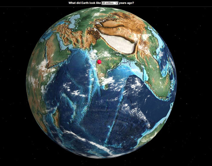 This globe shows what the Indian sub-continent looked like 20 million years ago. Ahmednagar location is marked in red.