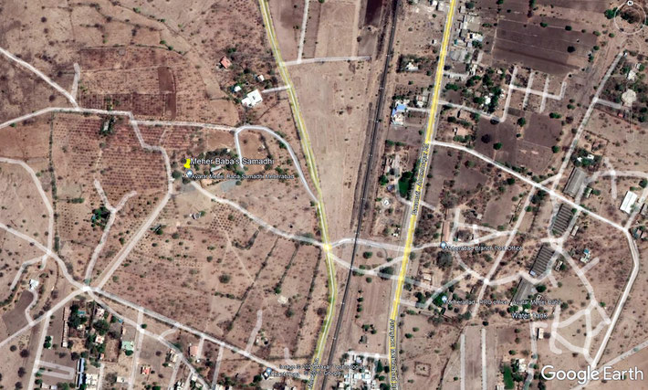 Present day aerial map of Meherabad district. Yellow marker shows Meher Baba's Samadhi. Map graphics by Anthony Zois.