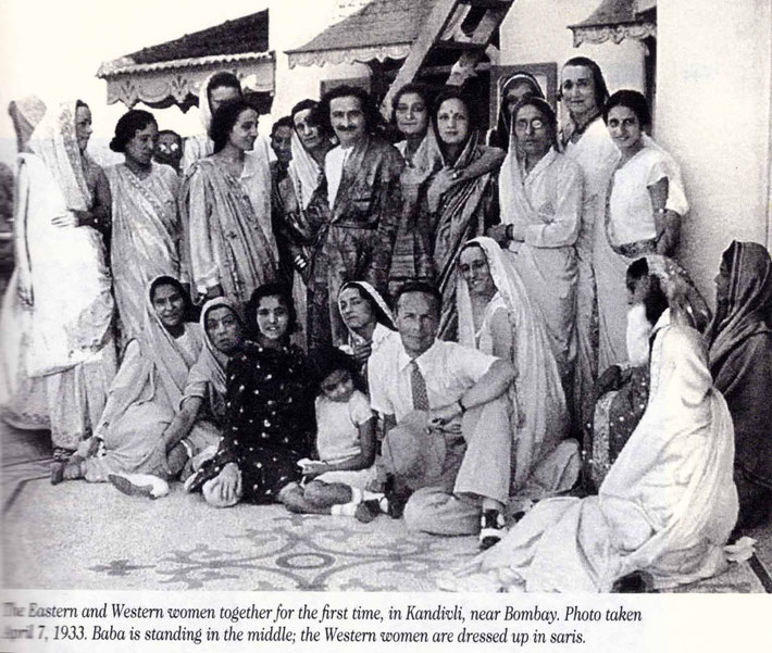 "Valu is seated on the far right facing Baba. Courtesy of ""Mehera-Meher"" books."
