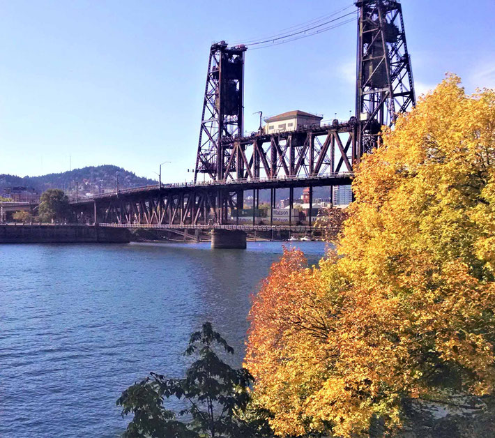 Willamette River, Portland, Oregon, where He crossed by train. Courtesy of E. Sandy Ley