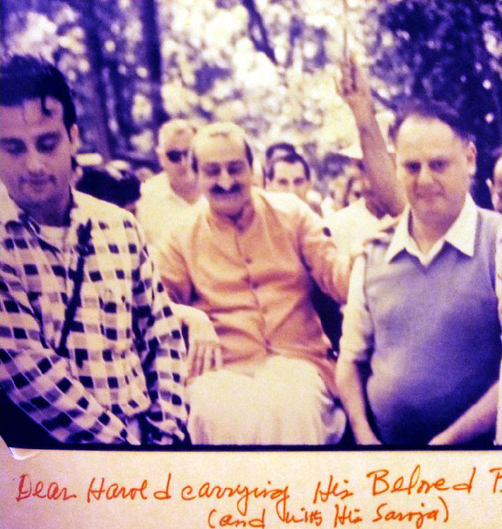 Harold ( right ) helping to carry Meher Baba at Myrtle Beach Center, Sth.Carolina. - Courtesy of Gregg Rosen
