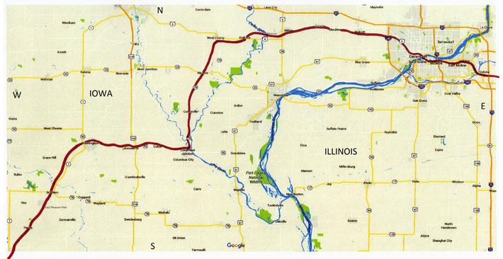 IOWA Map ; Davenport to Kansas City - 1st part of the rail route through Iowa