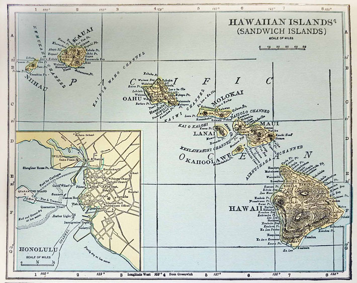 Mid-1930s map of the Hawaiian Islands ( the Eastern tiny islands of the archipelago are not shown )
