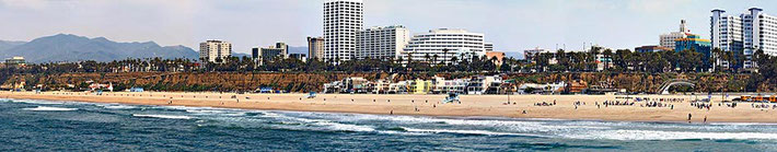 Panorama from Santa Monica Pier of the beach and city