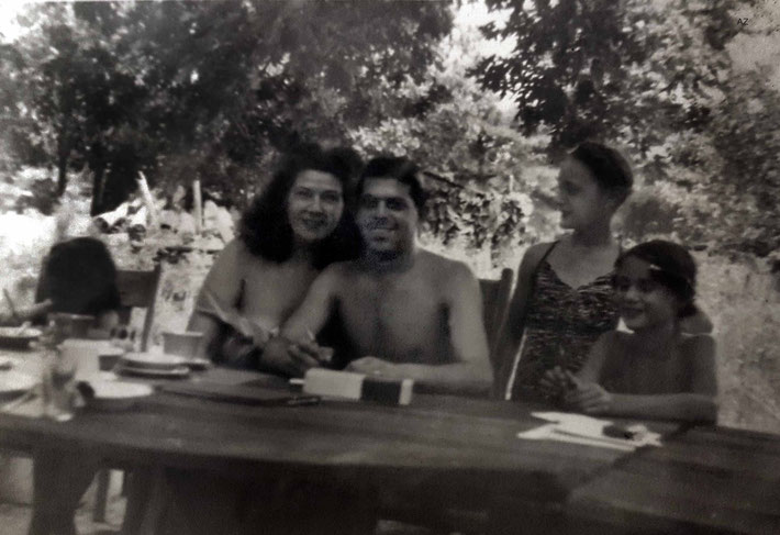 Kim & Mauel Grajera on holidays at the Ross property in New Jersey, with Margarita (standing) and Anne Ross ; June 1949. Courtesy of Anne Ross