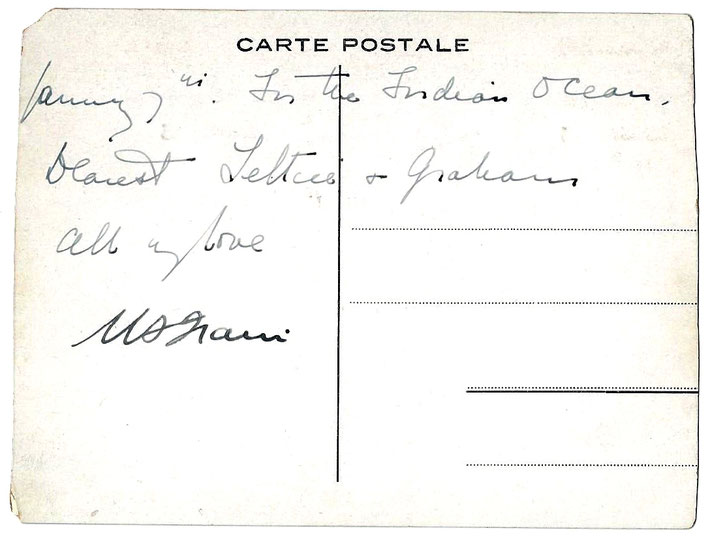 Postcard - back ; of the S.S.Baloeran, dated January 7th, written by Meher Baba to the Stokes. See image above of the card's front.