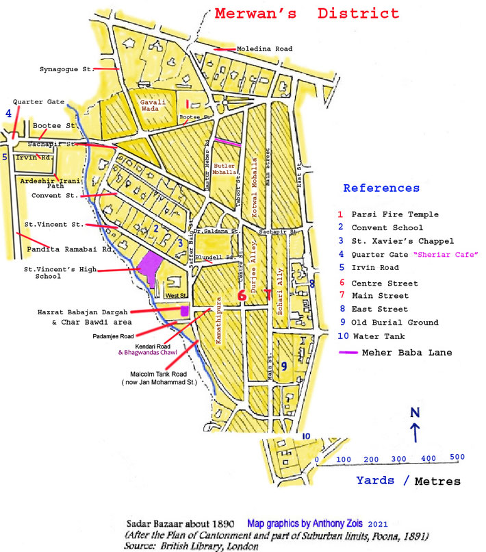 Map 2 : Merwan Irani's localised Poona district in the mid-1890s. Map graphics by Anthony Zois.