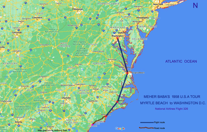 2. 1958 : Map shows the routes taken by Meher Baba from Myrtle Beach to Washington DC. Map graphics by Anthony Zois.