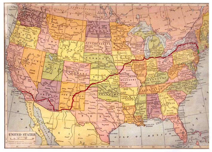 1932 : Meher Baba's journey across the United States, map showing the 13 mainland States he travelled through.  After visiting California, he sailed to Hawaii. A total of 14 US States.
