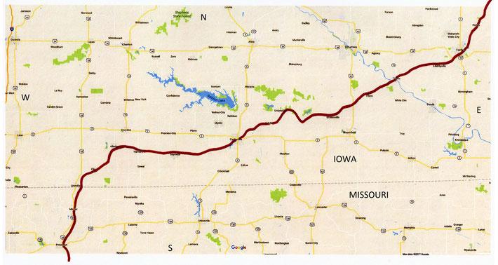 IOWA Map ; Davenport to Kansas City - 2ndt part of the rail route through Iowa