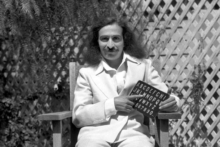 Meher Baba in Hollywood, CA. May-June 1932. Picture possibly taken at the Marc Jones' garden.