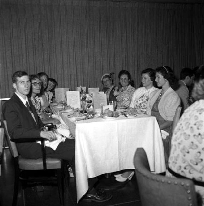 Lonchamps Restaurant, New York -  22 July 1956 : Josephine Ross is seated on the left, next to Lowell Shaw and with her two daughters next to her. Courtesy of Meher Nazar