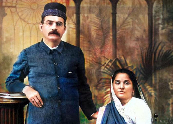 Kaikhushru & his wife Soonamai Irani. Image colourized by Anthony Zois.
