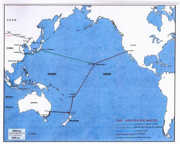 1932 ASIAN - PACIFIC SHIP ROUTES & SINO - RUSSIAN TRAIN ROUTES