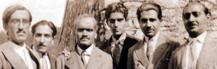 East Challacombe, Devon, 1932, l to r F. H. Dadachanji, Beheram Irani, Dr Abdul Ghani -biographer of Babajan, Adi S Irani, Adi K. Irani & Kaka Baria