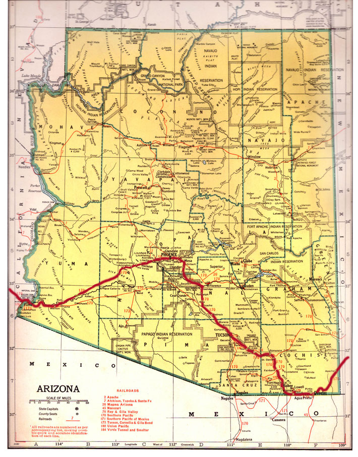 ARIZONA STATE MAP. This map shows the journey Meher Baba took across the state of Arizona. This map apart from the rivers and county lines only shows rail-lines not roads. The train route in red was made by Anthony Zois.