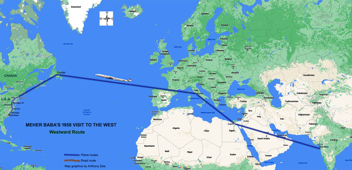 1958 : Map shows the Westward route of Meher Baba's tour to the Esat Coast of the U.S. Map graphics by Anthony Zois.