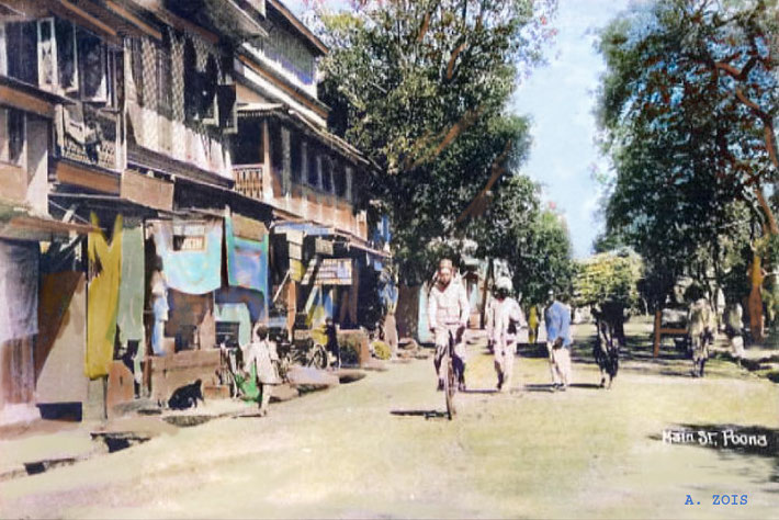 Main Street, Poona. Image colourized by Anthony Zois.