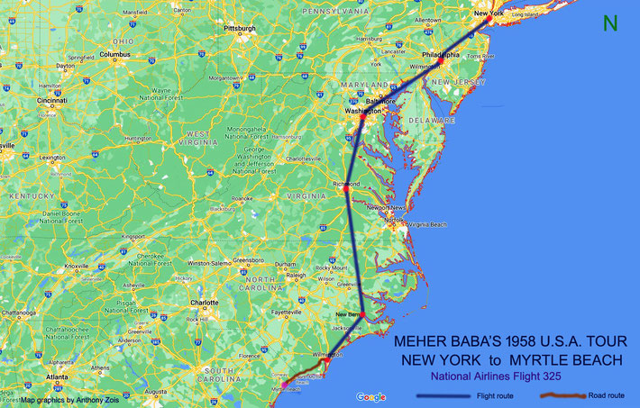 1958 : Map shows the routes Meher Baba took from New York to Myrtle Beach. Map graphics by Anthony Zois.