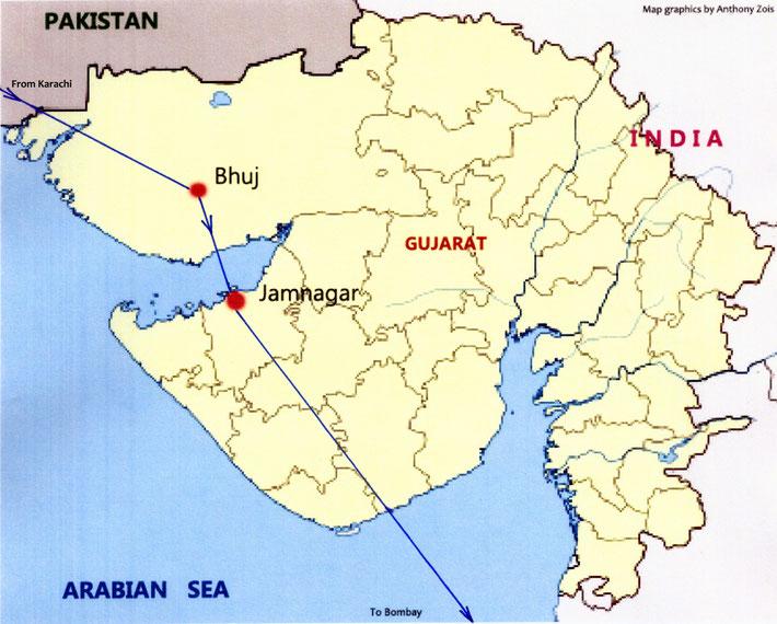 MAP 12 : 1952 - Last flight of the tour ; Karachi, Pakistan to Bombay, India