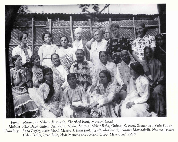 Courtesy of Lord Meher ; Vol. 6-7 p.2296. Valu is seated with dark sari on the far right.