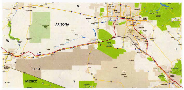 Tucson - Phoenix - Yuma train route. Rail route marked by Anthony Zois.