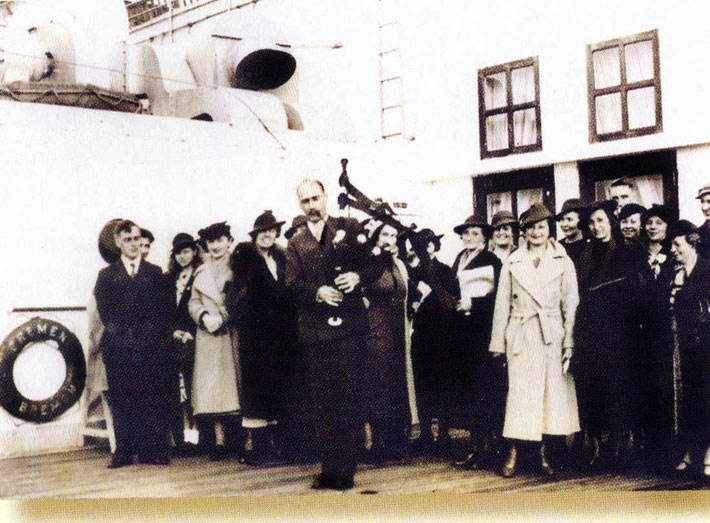 13th May, 1932 - Southampton, England. Charles playing the bagpipes prior to Meher Baba's departure for New York on the S.S. Bremen. Photo courtesy of Anne Ross
