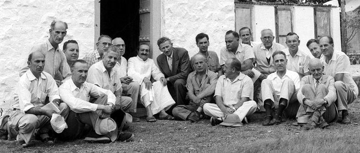 1954 : John is on the far right-rear of Meher Baba at his tomb at Upper Meherabad, India