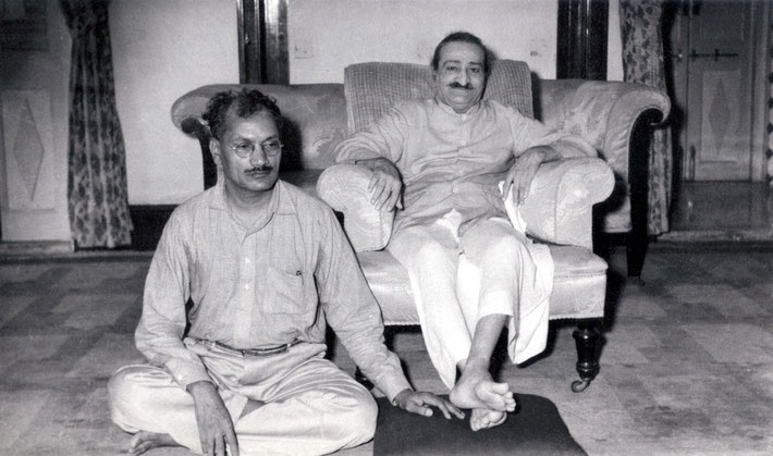 """Meher Baba with Dr. C.D. Deshmukhat """"Guruprasad"""" Poona, India - May 1959. Courtesy of the Fereshteh Azad Collection."""