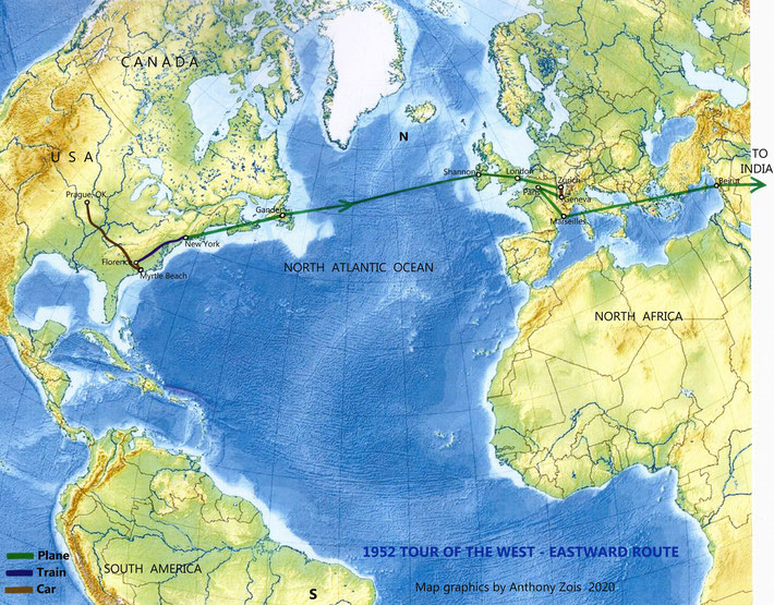 1952 : Eastbound route back to India via Europe & the Middle East.   Map graphics by Anthony Zois.