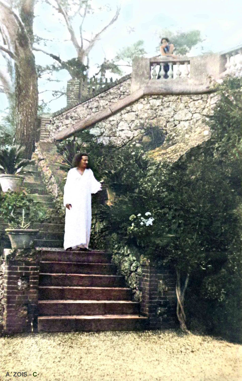 Meher Baba at the Villa Altachiara, Portofino, Italy- July 1933. Image colourized by Anthony Zois.
