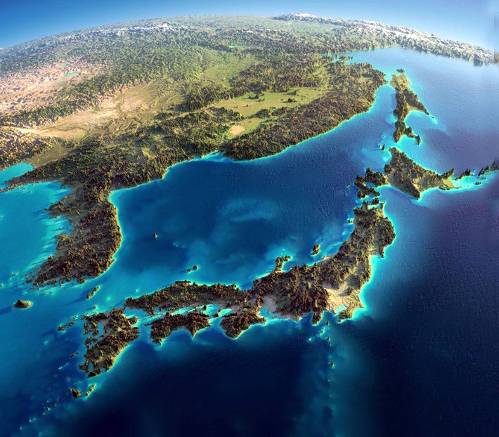 Satellite photo of Japan and her surrounds