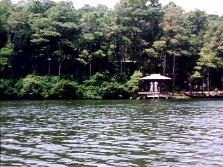 1956 ; Meher Center, Myrtle Beach, SC. ; The Boat house and gondola on the Center's Long Lake. The images were captured by Anthony Zois from a film by Sufism Reoriented.