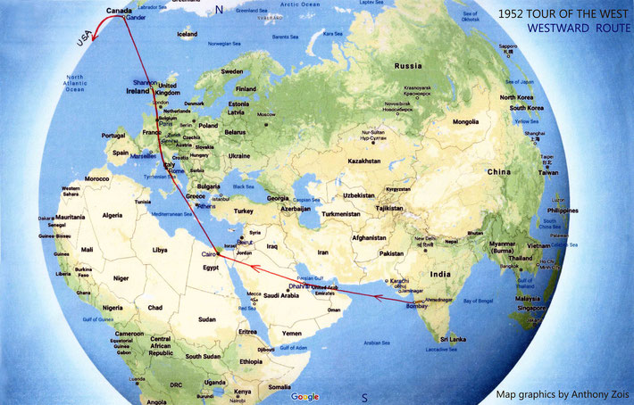 Map 2 : 1952 - Meher Baba's visit to the West - 1st part of the route Westward.