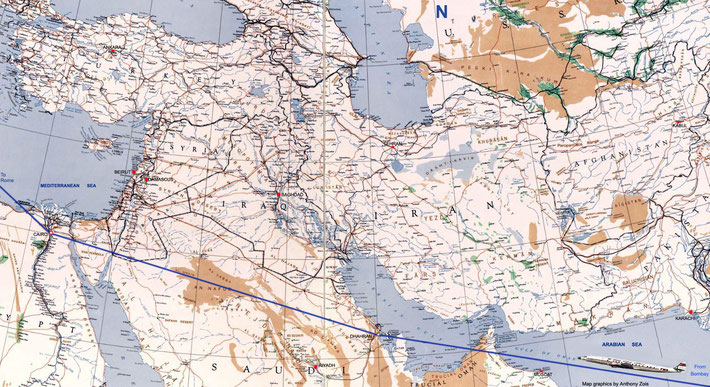 1952 : Map shows the Westward TWA plane route through the Middle-East from Bombay. Map graphics by Anthony Zois.
