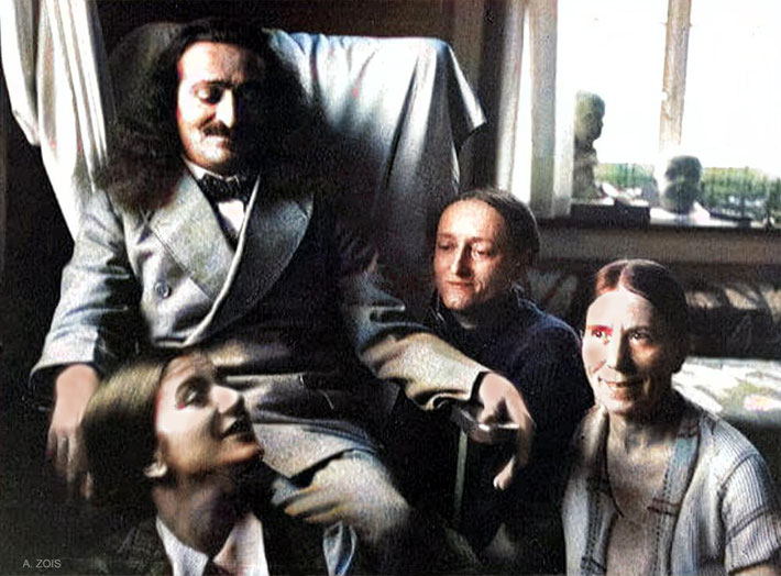 1934 : Meher Baba at the Merten's home in Zurich with Anita De Caro ( left front ), Margaret Craske ( right ), & Kitty Davy ( right front ). Image colourized by Anthony Zois.