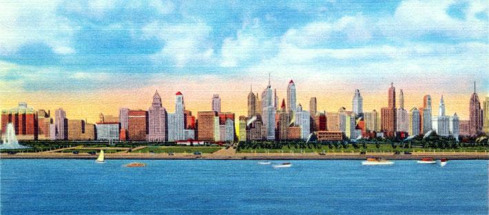 Chicago Skyline postcard, ca. 1930