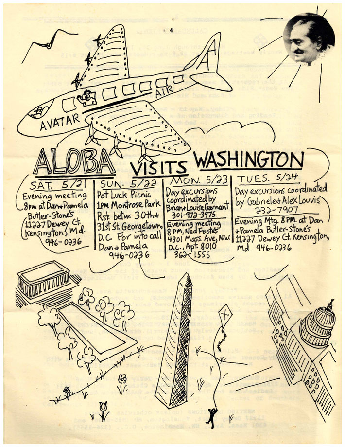Meher Baba Washington DC insert notice for Aloba's coming visit