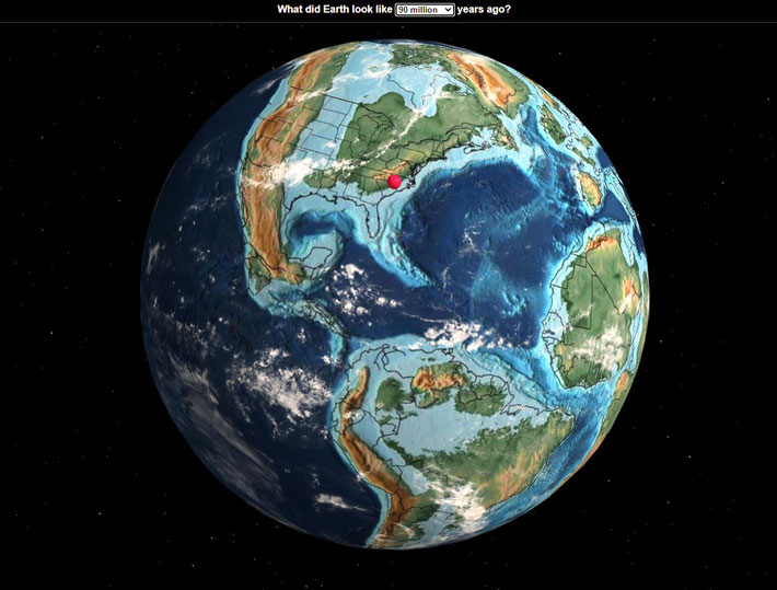 This globe shows what the continents looked like 90 million years ago. Myrtle Beach location is marked in red showing it was sunmerged under water at the time.
