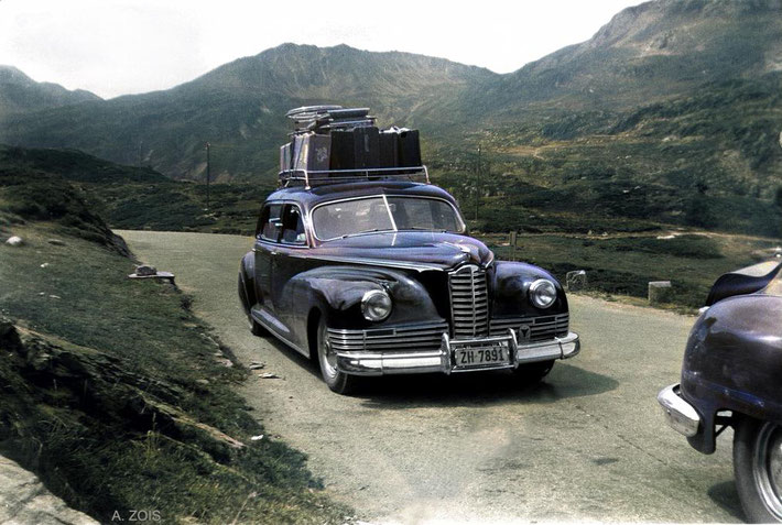 Driving from Zurich to Locarno in a 1946 Packard motor vehicle. Image colourized by Anthony Zois