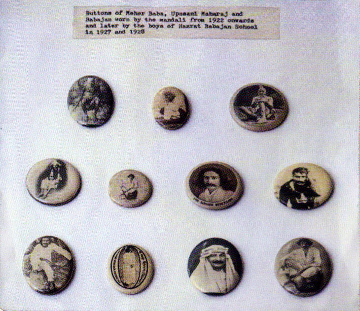 The page of badges appeared in the Glow International magazine ; Spring 2016. The badge shown on the bottom row with the photo of Baba wearing an Arab outfit was taken in 1936 in Nasik, India. These badges / buttons are preserved at Beloved Archives in NJ