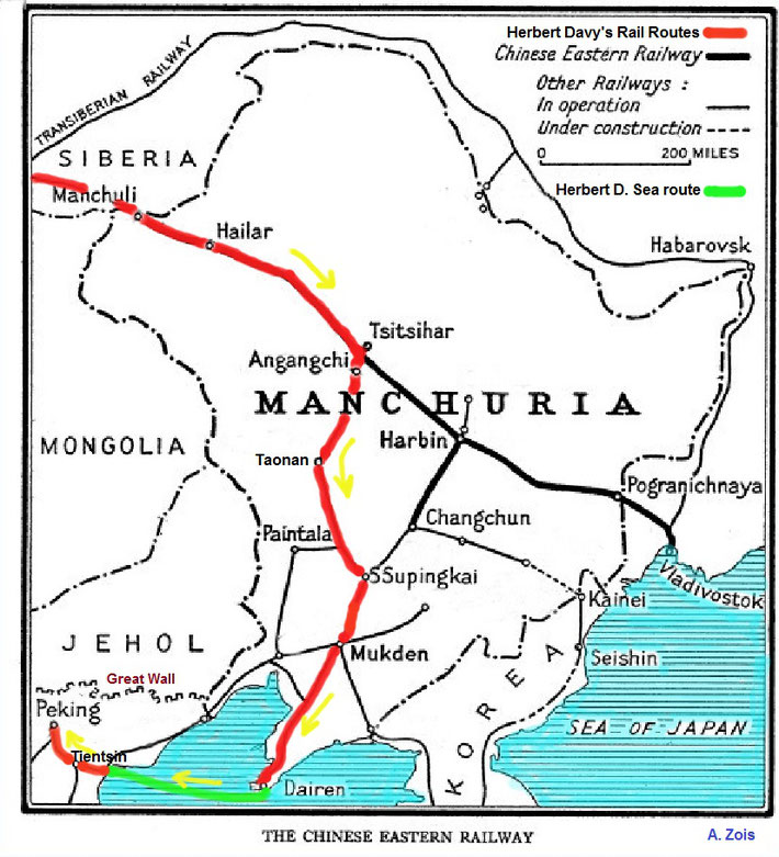 Map 2 : The Chinese train & sea routes that Herbert Davy's took to Peking.
