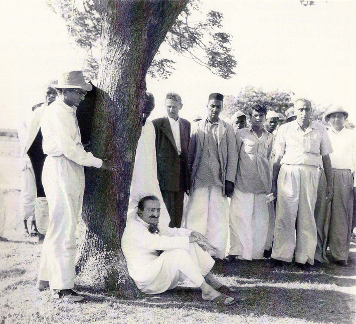 September 1954 : Minoo is standing on the far right of Meher Baba. LM p. 4453