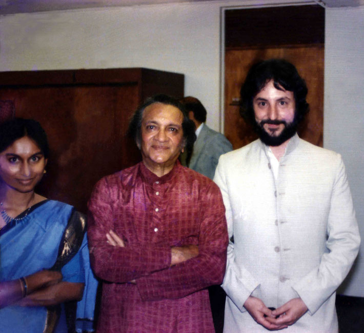 1980s Los Angeles ; Michael & Lakshmi with Ravi Shankar